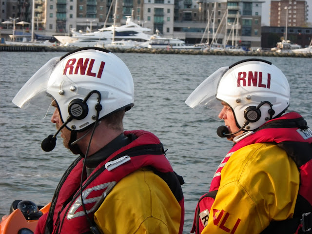 Crew Member Steve Porter and Helmsman Glen Mallen - 22 April 2014 Photo: RNLI Poole/Anne Millman