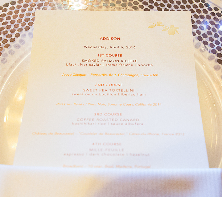 photo of the dinner menu