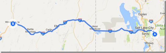 Route from Lake Jordanelle to Winnemucca