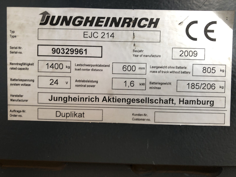 Picture of a JUNGHEINRICH EJC 214