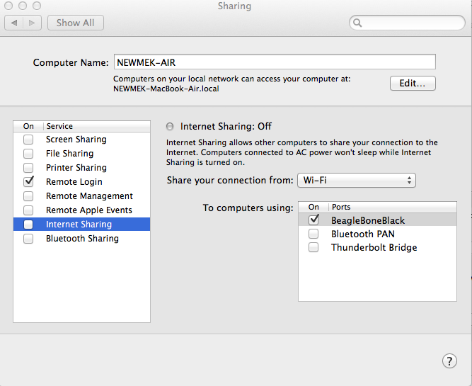 Internet Sharing settings