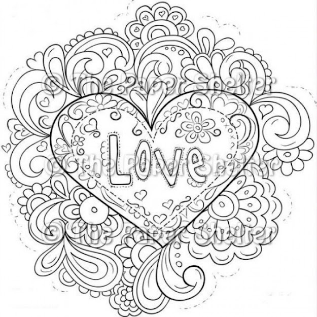 Fre Printable Image Of Trippy Love Heart