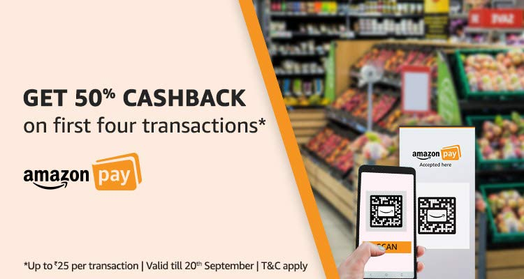 Amazon - Get Flat 50% Cashback on Transaction via Scan & Pay