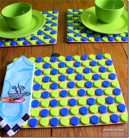 make recycled bottlecap placemats