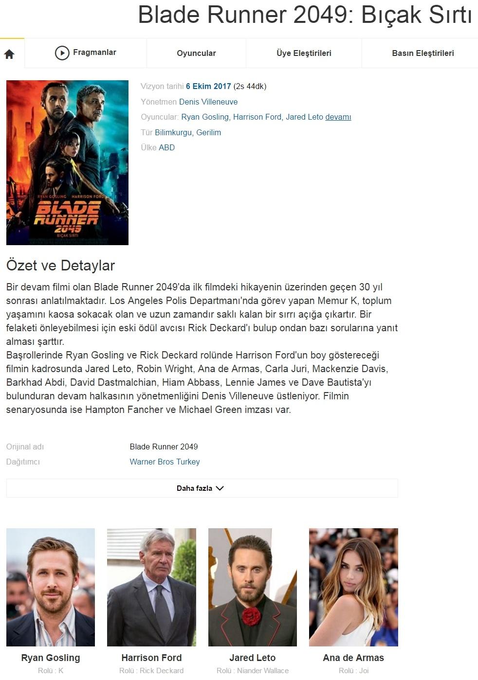 Blade Runner 2049 Bıçak Sırtı - 2017 Türkçe Dublaj BRRip indir