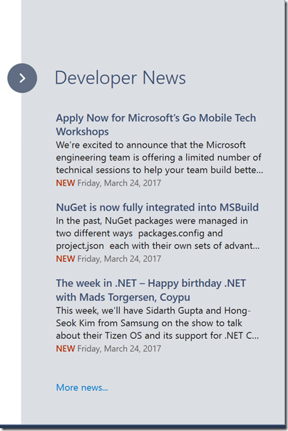 developer-new-section-in-start-page-visual-studio-2017