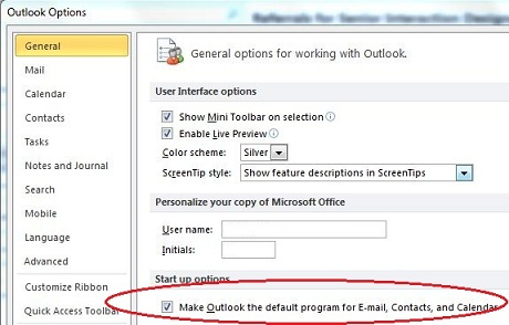 Make outlook default email client