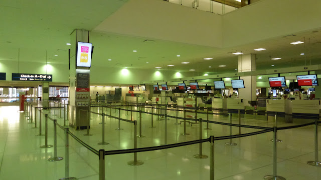 Empty Qantas check in desks, Sydney Airport
