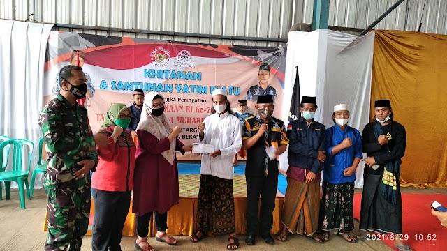 LSM GMBI KSM Bantar gebang Berikan Santunan anak Yatim-piatu dan khitanan bersama perwakilan organisasi