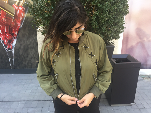Zaful Lacing Bomber Jacket
