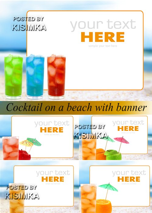 Stock Photo: Cocktail on a beach with banner