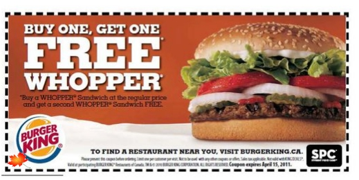 Daily deals burger king canada
