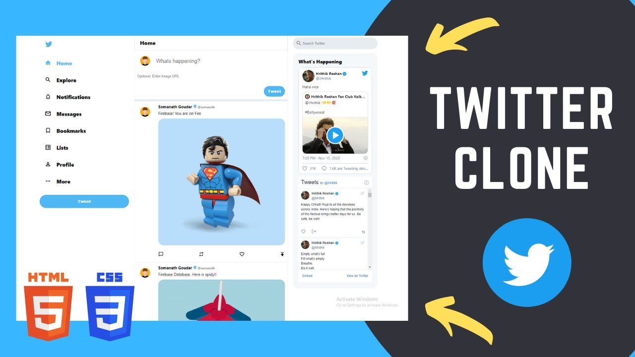 How to build Twitter Clone using HTML and CSS | Tutorial