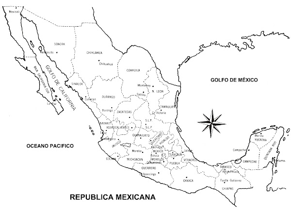 Mapa de México con división política