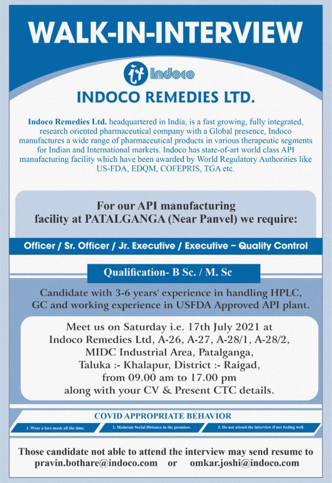 Opening At Indoco For Quality Control Department