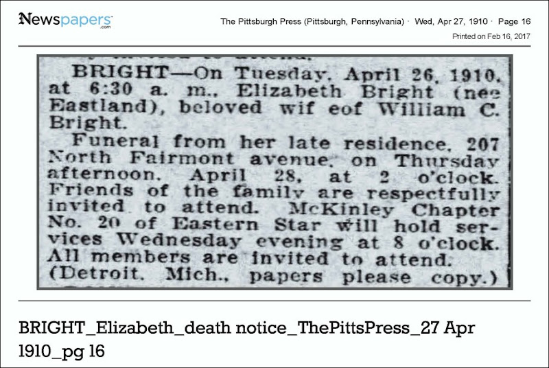 BRIGHT_Elizabeth_death notice_ThePittsPress_27 Apr 1910_pg 16