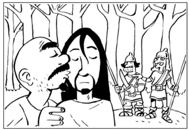 Beso de Judas a Cristo para colorear