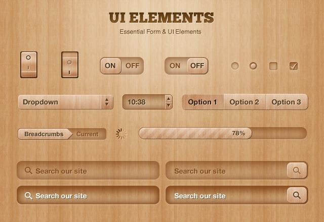 Got Wood UI Design Elements 20 useful UI elements PSDs