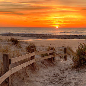 My Beach, HDR by João Freire - Landscapes Sunsets & Sunrises ( water, fence, sunset, beach, landscape, portugal, , garyfonglandscapes, holiday photo contest, photocontest )
