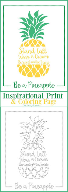 Be Pineapple Inspirational Print And Coloring Page