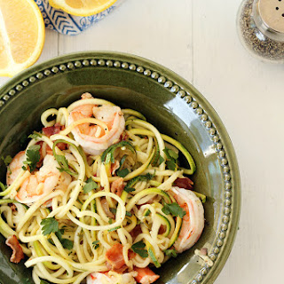 "Easy Bacon Shrimp ""Zucchini Noodle"" Scampi."