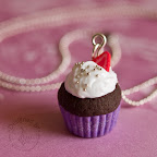 Glittery Purple Cupcake Necklace