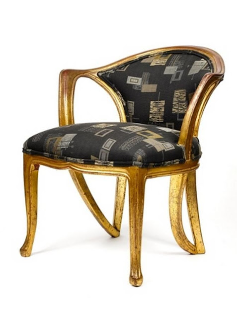 French Art Nouveau chair with gilt wood frame