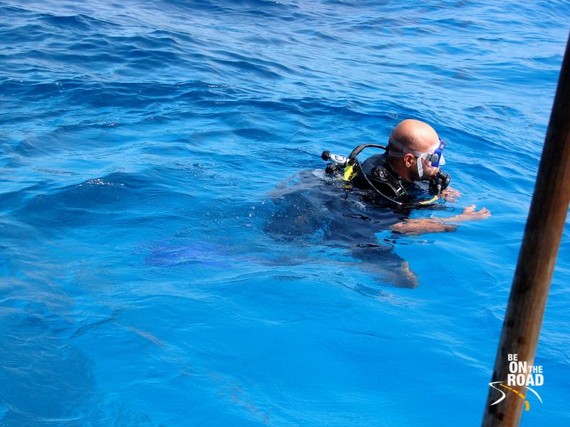 Getting ready to scuba dive near Kadmat Island, Lakshadweep Islands, India
