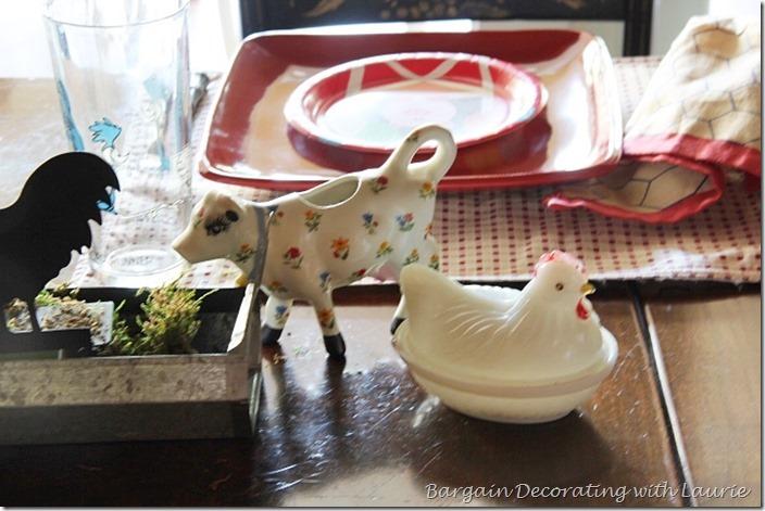 cow creamer and hen on nest server