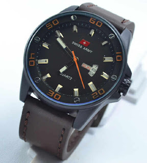 jam tangan Swiss army date day darkbrown leather  oren