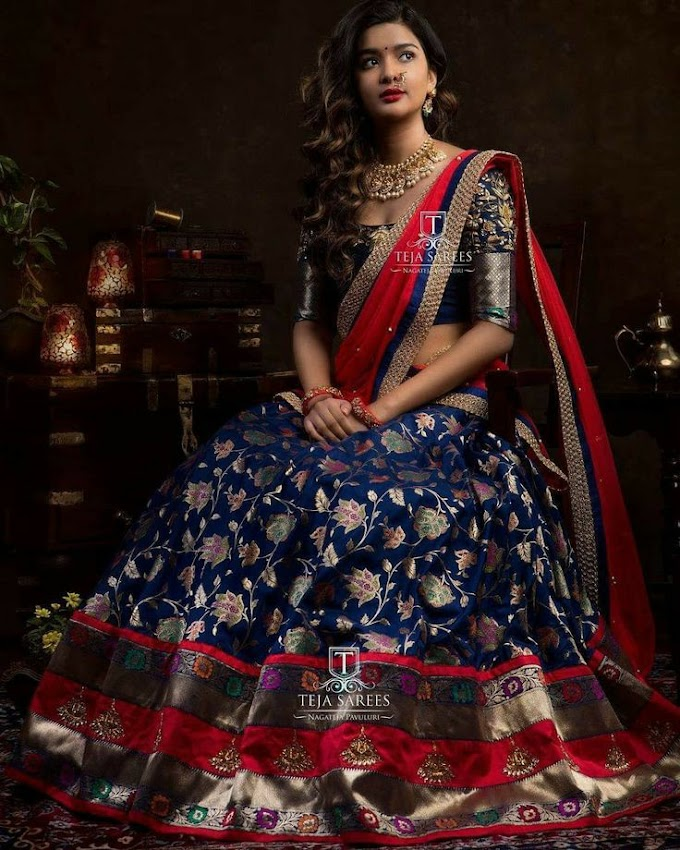 An Epitome Of Royalness Proved By This Half Sarees Collection.