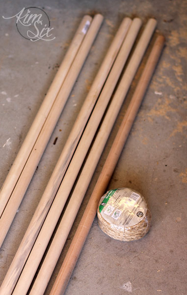 Dowels and twine to make DIY doormat