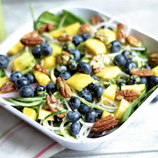 Blueberry and Mango Spinach Salad with Basil Vinaigrette.
