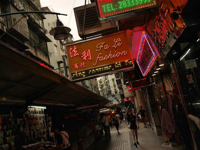 Sign for Fa Li Fashion in Macau's Three Lamps District