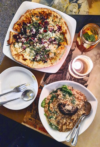 eight 1/2 restaurant - wild mushroom risotto, marketplace pizza