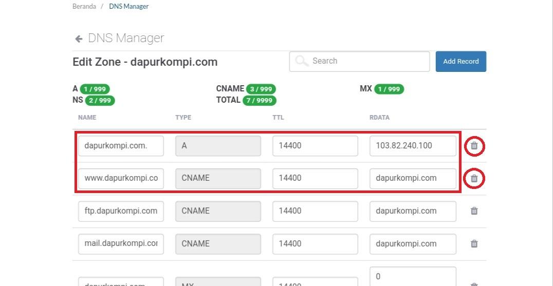 Cara menyetting domain tld