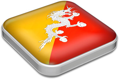 Flag of Bhutan with metallic square frame