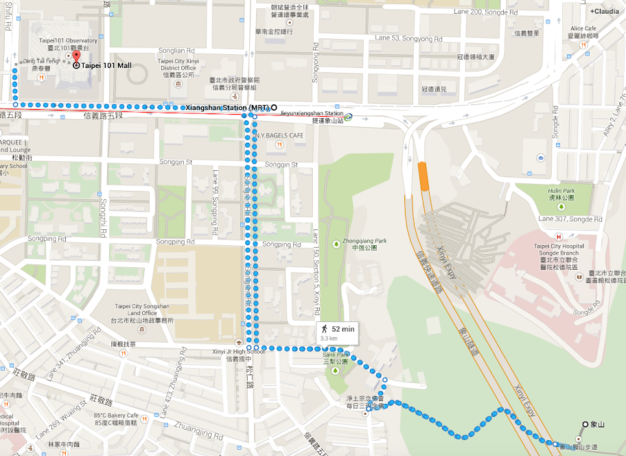 Elephant mountain access map for Taipei 101 views free of charge
