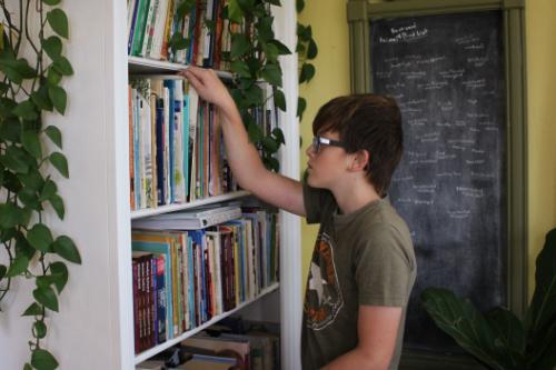 boy looking through home library shelves