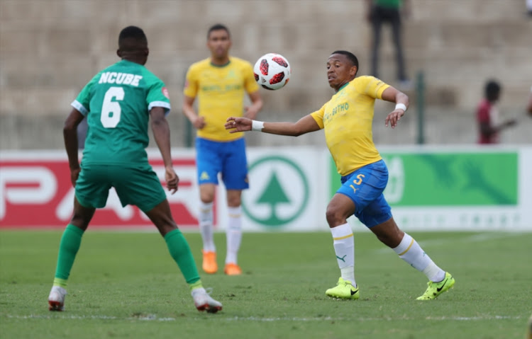 Andile Jali of Mamelodi Sundowns during the Absa Premiership match between AmaZulu FC and Mamelodi Sundowns at King Zwelithini Stadium on September 16, 2018 in Durban, South Africa.