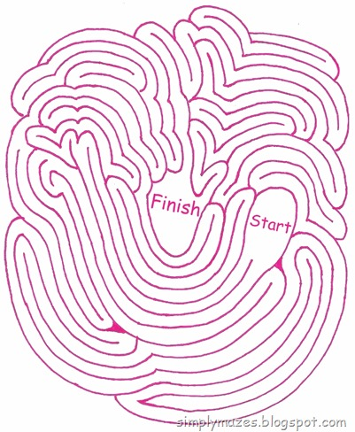 Maze Number 110: Sprouting.  A printable pink maze.