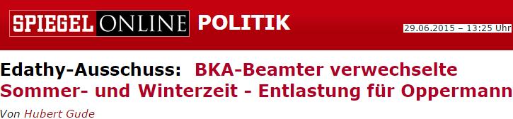BKA-Beamter verwechselte Sommer- und Winterzeit - Entlastung für Oppermann