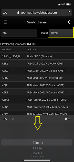 Matriks Web Trader Mobil Sembol Seçim Ekranı