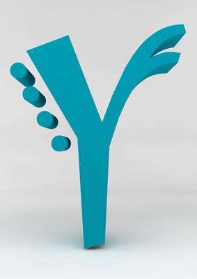 lettre 3D homme joker turquoise - Y - images libres de droit