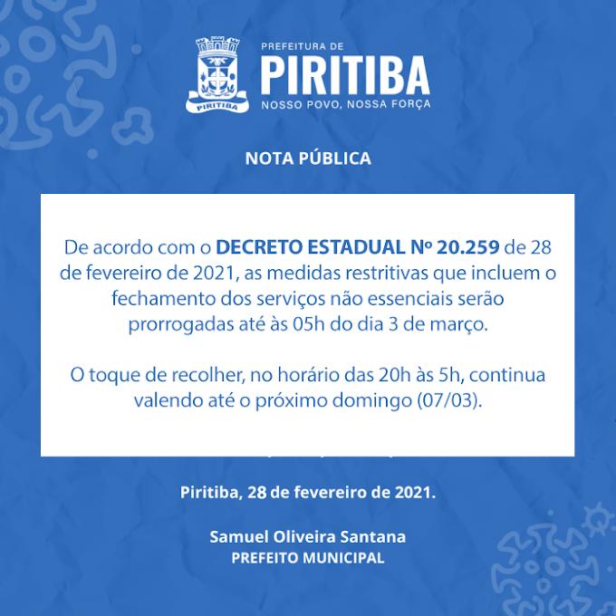 Piritiba: Prefeitura municipal emite Nota Pública informando que o município seguirá o Decreto Estadual. Confira: