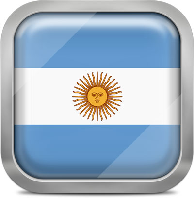 Argentina square flag with metallic frame