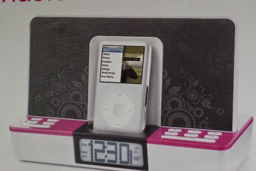 Memorex Clock Radio for iPod with Dual Alarm Settings - Pink/White (iPod not included)