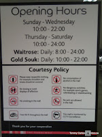 Förhållningsregler i köpcentrumen, eller faktiskt alla allmänna platser.