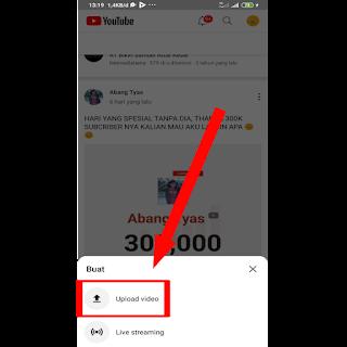 Tombol upload video youtube