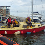 The ILB escorts the yacht into Poole Quay Boat Haven. 28 September 2013. Photo credit: RNLI / Dave Riley